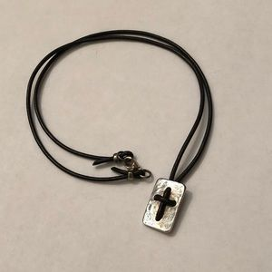 James Avery Brown Leather Cord Cross